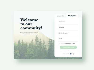 #DailyUI 001 Sign Up Page