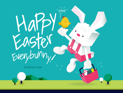 Happy Easter! peeps eggs bunny cartoon vector illustration michelle lana easter illustration easter bunny