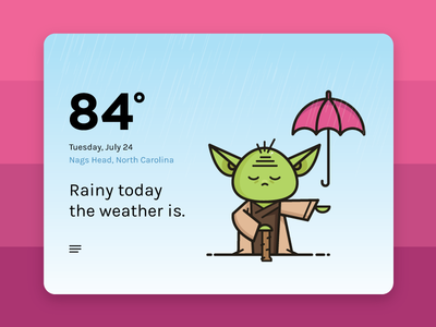 Yoda Weather App mobile app ios app weather illustration rain weather app star wars yoda