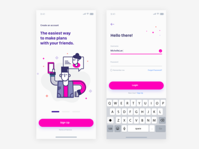 Create an Account illustration mobile design login screen create account ux mobile ui