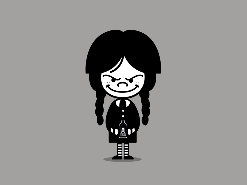 Wednesday Addams horror cartoon character wednesday addams addams family wednesday vector cartoon michelle lana illustration