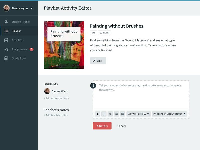 Student Activity Editor student teacher activity playlist editor ui app ux