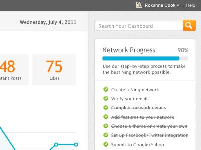Ning Dashboard Redesign ui progress checklist process graph dashboard admin