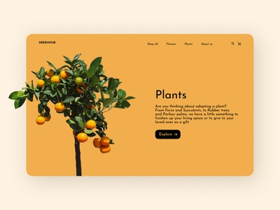 Plants boutique website concept search bar cart top navigation minimal category e-shop ecommerce design online shop boutique desktop design figma orange plant flowers web design