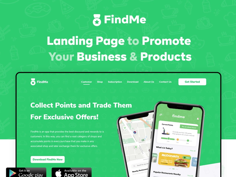 FindMe | Landing Page landing product ecommerce business ecommerce website design behance animations adobexd clean vector illustration app minimal ui design ios flat landingpage website ux ui