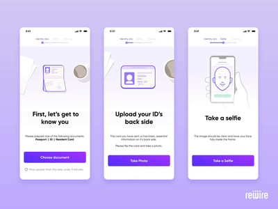 Identity verification screens figma illustrator flow vector animation lottie mobile ux ui selfie