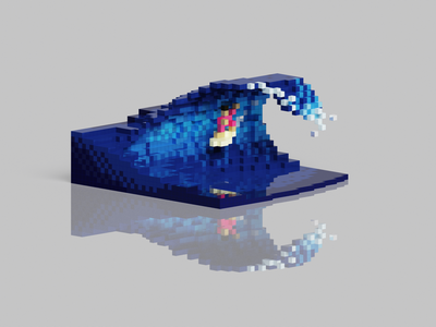 Voxel Pool Surfing surfer wave surf surfing illustration 2d 3d pixelart pixel voxelart voxel magicavoxel