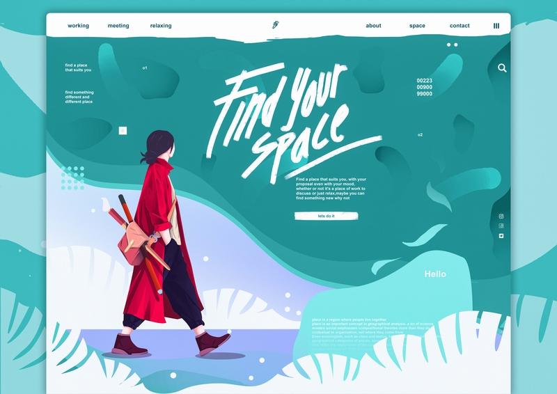 Find Your space web conceptual lettering digital illustration flat typography vector design digitalart concept character website ui illustration