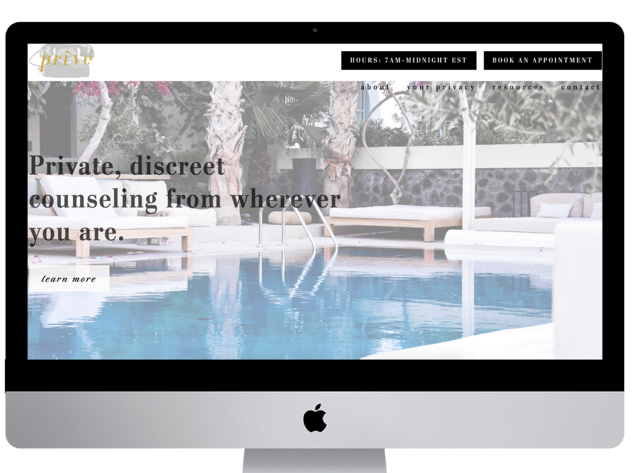 Privé Counseling Luxury Website high end copy writing web design website upscale square squarespace luxury branding luxury brand