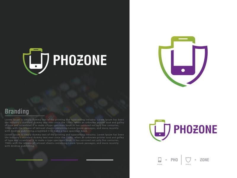 Phozone Logo Design modern green purple logos mobile app favicon logo design alart security shield phone mobile minimalist minimalist logo identity creative icon brand logotype logo