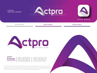 Actpro professional simple unique abstract purple mark lettermark letter a logo minimalist logo emblem icon minimalist creative identity favicon brand logo logotype