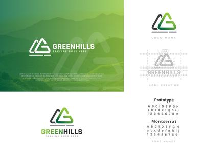 Green Hills gorgeous awesome simple logo mountain hills hill green modern unique professional simple design logos minimalist creative identity favicon brand logotype logo