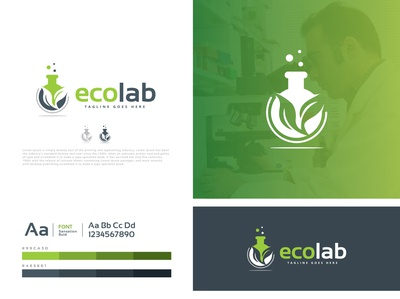 ecolab healthy health green modern research experiment science label eco emblem minimalist logo icon minimalist creative identity favicon brand logotype logo