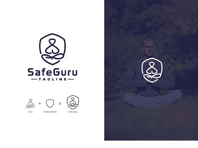 Safe Guru yoga guru safe logo protection protect safety safe logo design emblem minimalist logo icon minimalist creative favicon logotype logo identity brand