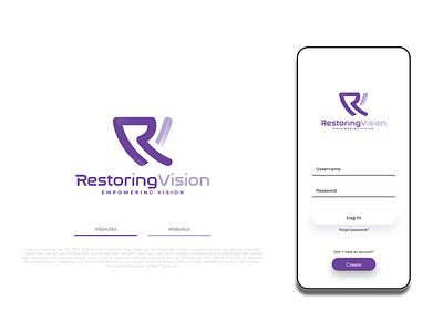 Restoring Vision Logo Design tech typography typo wordmark mark word textual text branding graphic design illustration ui design minimalist creative favicon logotype logo identity brand
