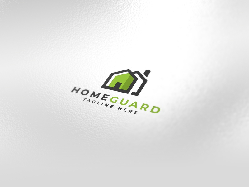 Home Guard / House Logo green brand safety alarm security logo security guard logo guard construction building realestate real house logo house home logo home