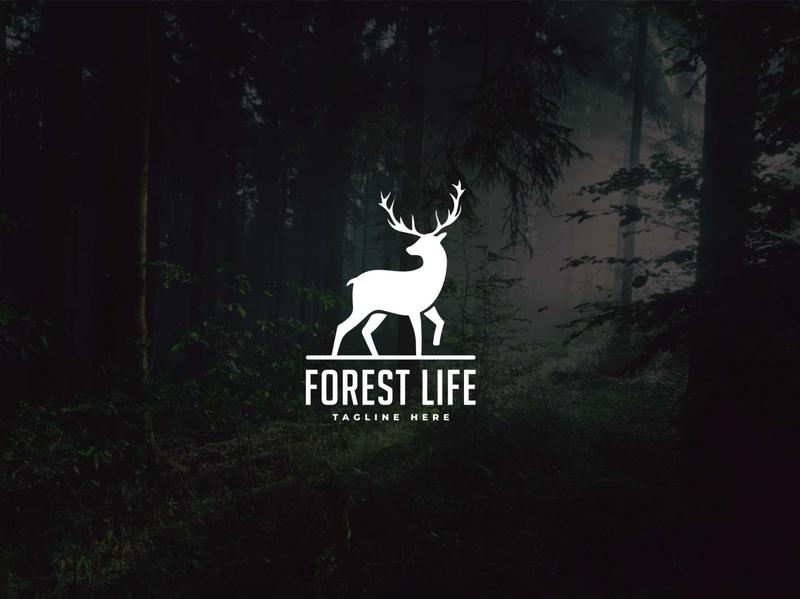 Forest Life forest life wild life dear animal forest wild icon design minimalist logodesign creative icon identity favicon brand logo logotype