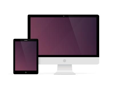 iMac and iPad vector devices illustration ipad imac flat
