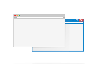 Browsers browsers flat interface windows mac line gray blue icons illustration