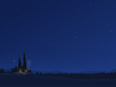 Winter silence night tree illustration gismeteo weather snow house winter