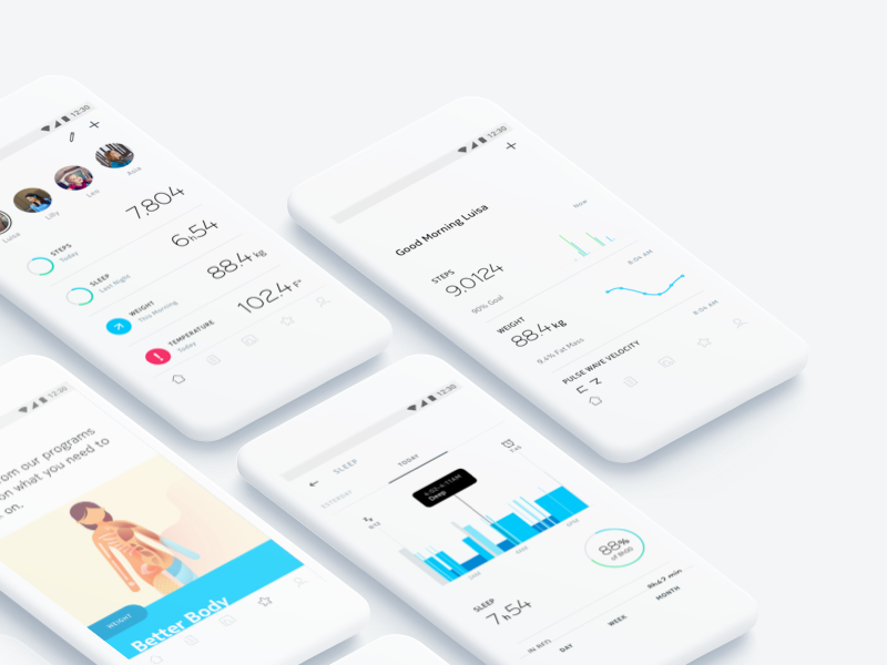 Nokia Health Mate (Android) minimalist withings weight diagnosis blue illustration dashboard data nokia health
