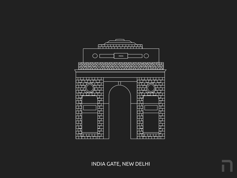 India Gate Illustration illustrations architectural architecture design architect india designer architecture monument design building design gate india gate india building monuments monumental monument illustration webdesign uidesign design figma