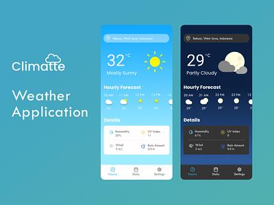 Climatte Weather Forecast Application prototype mobile ui mobile app ui design ui weather app