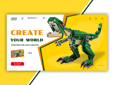 Constructor Lego creator website green yellow dinosaur creator site web page landing construct constructed lego
