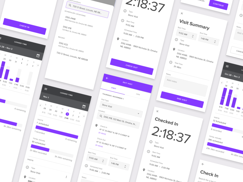 Logging Time material colors purple material design logging timer check out check in tracking time logging time time management mobile app product design app ux design ui