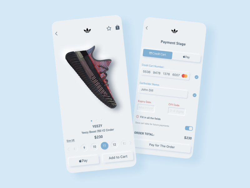 YEEZY Boost Card icon design payment form ios mobile ui app cinder sneakerhead sneaker hypebeast adidas neomorphism yeezyboost productcard figma ux ui
