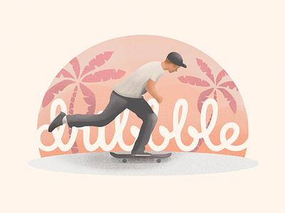My First Shot skate deck firstshot chillin chill peach skateboard grain editorial texture skateboarding usa losangeles california tropical palm design debut illustration