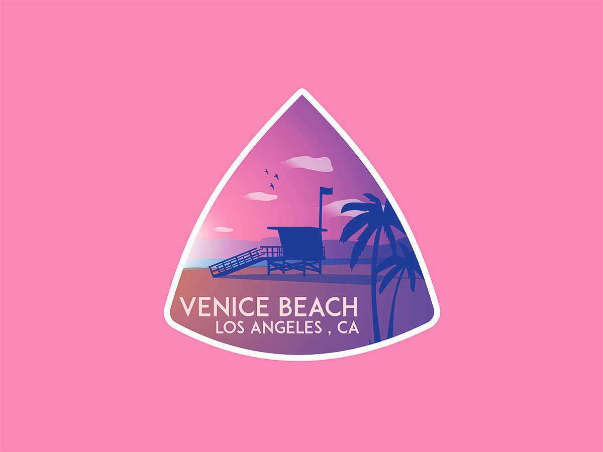 Venice Beach, LA, CA badge palms mountains ocean venice beach logo skateboard vector skateboarding losangeles branding adobe illustrator illustration design chill chillin california