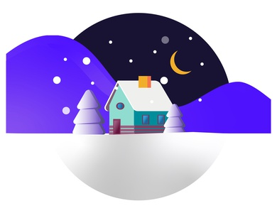 House on a winter night with a month in the sky
