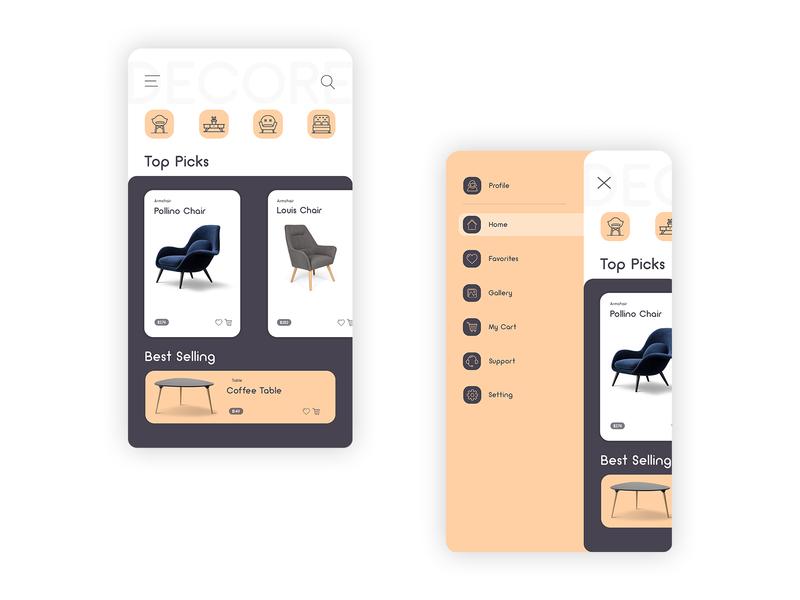 furniture shopping app ui/ux interior design app icons mobile ui mobile app ui design ux design ux ui ux designui furniture store hamburger menu shopping app shopping