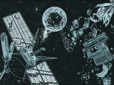 Cosmic Dust ink satellite sci fi space drawing magazine editorial graphic design illustration ink bad company