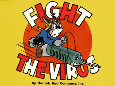 Fight The Virus old school pandemic covid vaccine syringe cat typography lettering drawing character design mascot ad boy cartoon graphic design illustration ink bad company