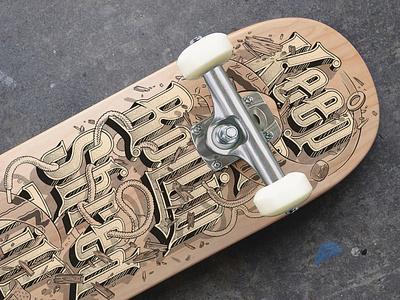 Keep On Rolling letters old school halftones ink drawing hot wheels wheels wood deck skate skateboard design product design typography lettering illustration graphic design ink bad company
