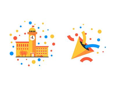 Secret Illustrations bubbles tower illustration clock school emoji party