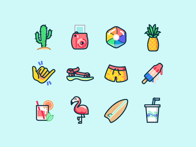 Summer illustrations surf popsicle pineapple teva flamingo america summer beachball cactus illustrations icons shorts