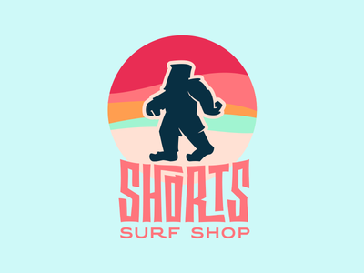 Shortsquatch lettering logo illustration shop surf sasquatch shorts