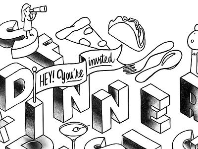 Dinner Invitation lettering procreate type illustration isometric dinner tacos