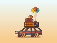 Vacay illustration summer balloons luggage vacation station wagon