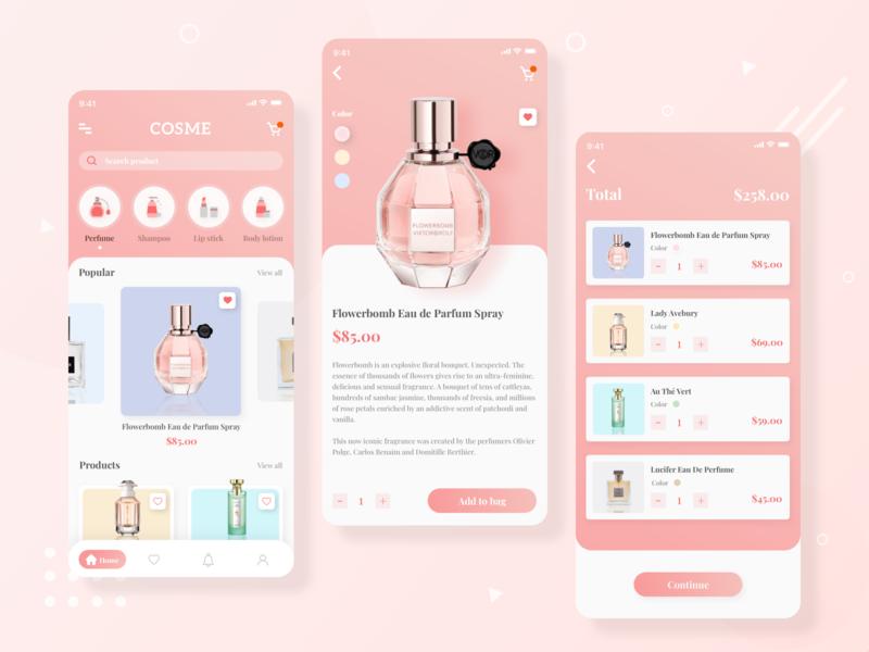 Cosmetic Mobile App UI Design app ui design