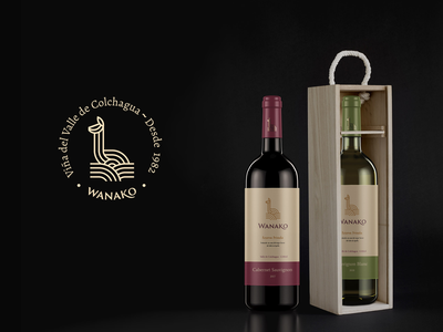 Wanako Winery chilean guanaco winery wine visual identity logo design logotype