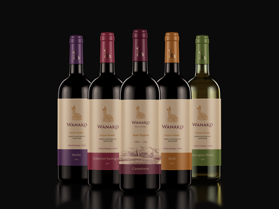 Wanako Winery packaging chilean guanaco winery wine visual identity logo design logotype