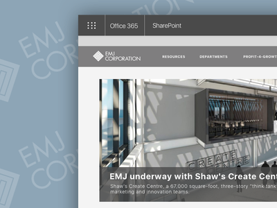 EMJ Homepage sharepoint office365 ui design