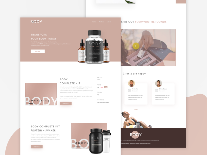 BODY Complete RX Landing nutrition webpage design user experience online store ecommerce health and fitness homepage design uidesign ux ui