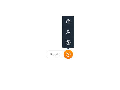 Flyout flyout spayce ui buttons social media globe friends privacy