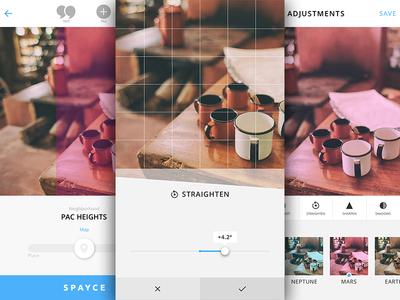 Photo Editing spayce ui ios iphone photo editing icons ux clean minimal tools photo tools