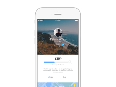 My Profile spayce space ui ux clean profile ios iphone location photos badges map